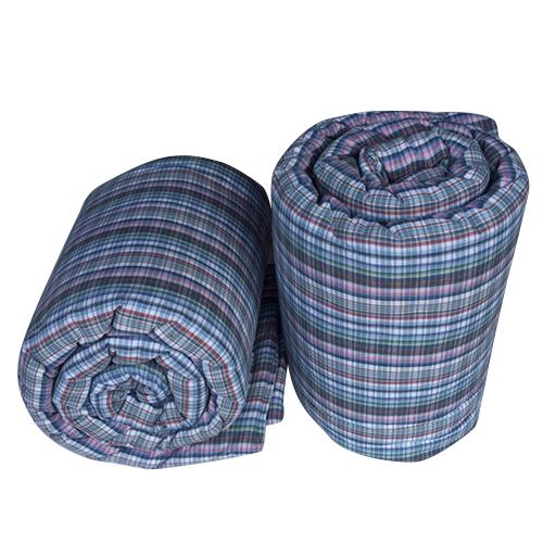 ผ้าห่มนวมฝ้ายแท้ 100%  ขนาด 4.5 ฟุต ลายเทา คาดชมพู