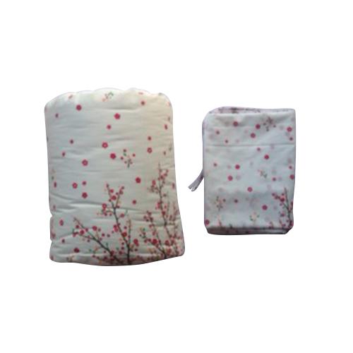 ผ้าห่มนวมฝ้ายแท้ 100% ขนาด 4.5 ฟุต ลายดอกซากุระ สีชมพูลายพื้น