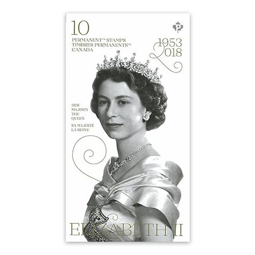 แสตมป์ที่ระลึกครองราชย์ 65 ปี สมเด็จพระราชินีนาถเอลิซาเบธที่ 2 จากประเทศแคนาดา (10 ดวง)